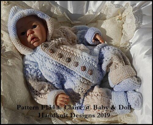 "BABYDOLL HANDKNIT DESIGNS KNITTING PATTERN F134 ALL IN ONE 16-22/"" DOLL//0-3M BABY"