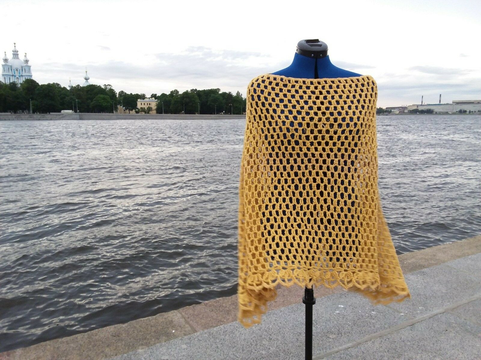 Ponco Light Knitted Yellow Women's Clothing Winter Autumn Spring Present for Mom