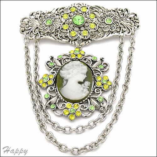 """Vintage Victorian Design Queen Lady Dangle Cameo Crystal Pin Brooch 3.75/"""" Green"""