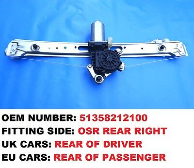 NEW BMW E46 3 SERIES SALOON REAR RIGHT SIDE ELECTRIC WINDOW REGULATOR WITH MOTOR