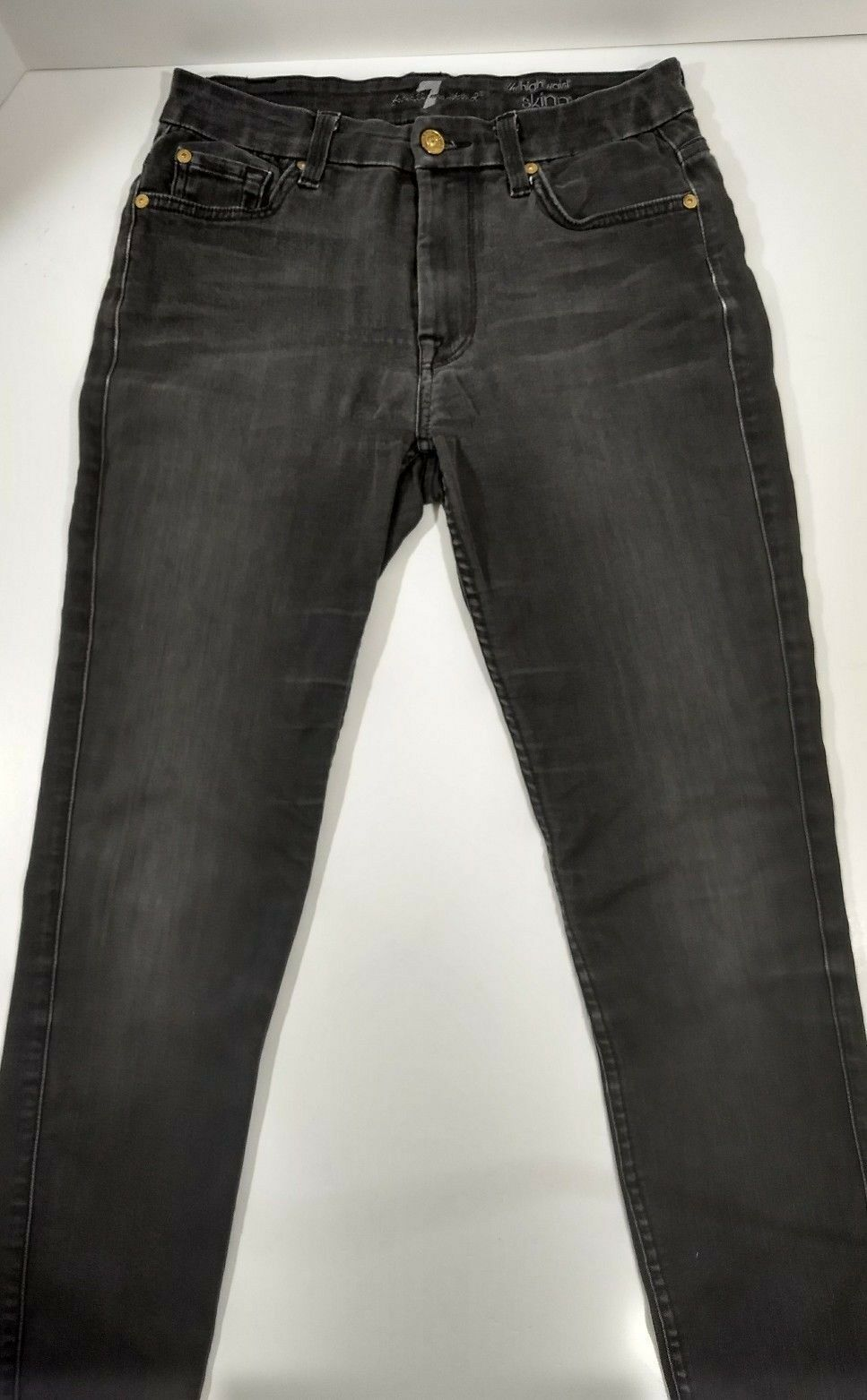 7 Seven For All Mankind High Waist Skinny Ankle in Grey Destroy - Sz 27 30