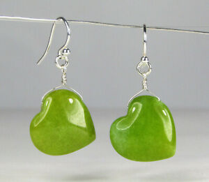 Green-Puffed-Glass-Heart-Silver-Dangle-Earrings-Gemstone-USA-Handmade