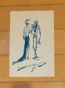 """SALVADOR DALI AUTHENTIC -FIGURES- 13"""" x 8.5"""" INK ON PAPER HAND DRAWING"""