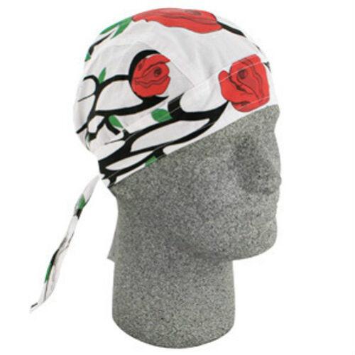 Tribal Red Rose Over White and Vine Doo Rag Headwrap Skull Cap Ladies Womens