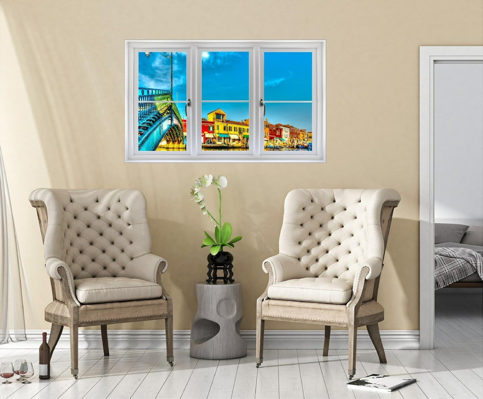 Window Landscape View MURANO ISLAND DUSK  1 CLOSED Wall Sticker Decal Graphic