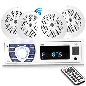 """Details about Bluetooth Marine Receiver Stereo & Speaker Kit (4) 6 5""""  Waterproof Speakers"""