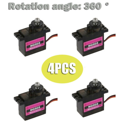 1 4Pcs MG90S Micro Metal Gear 9g Servo For Robot RC Plane Helicopter Boat Car