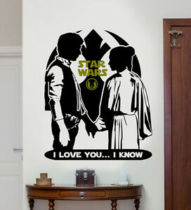Image is loading Star-Wars-Princess-Leia-&-Han-Solo-Love- & Star Wars Princess Leia u0026 Han Solo Love Wall Vinyl Sticker/Decal | eBay