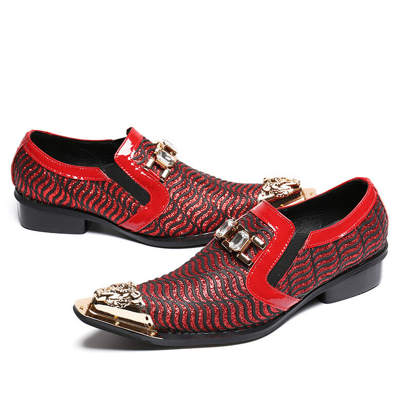 Uomo Metal Pointed Toe Rhinestone Pelle Business Party Dress Loafers  Scarpe g55