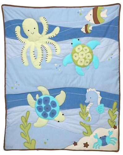 Octopus Sea Babies Applique Baby Crib Comforter Seahorse Nojo