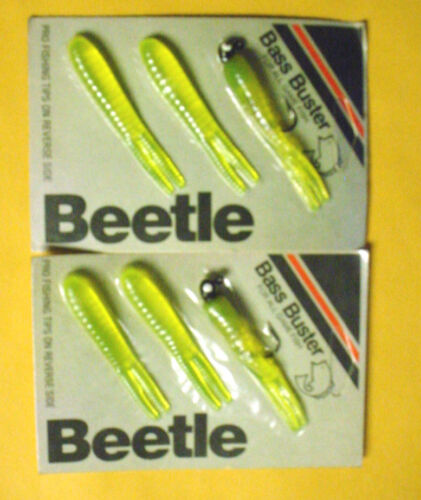 1 2 1//4 Oz Black jig with Chartreuse tail /& TWO-Bass Buster Beetle- spares//card
