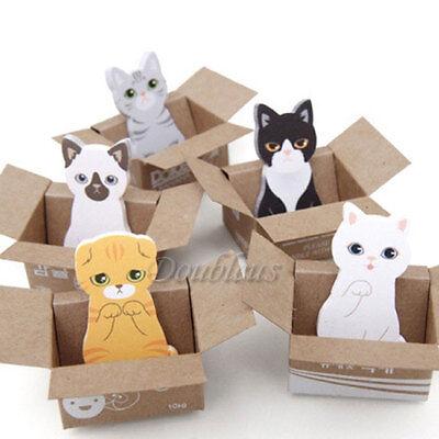 Cute Cat Kawaii Kitty House Notes Stationery Bookmark Pad Sticker Memo Book Box