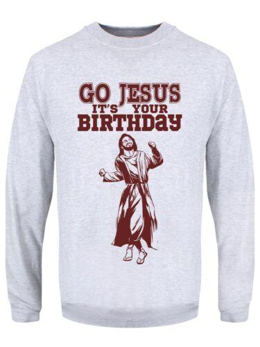Pullover Uomo Go Gesù it /'s Your Birthday GRIGIO