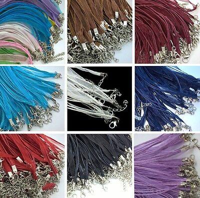 10 pcs SkyBlue Organza Ribbon Waxed Cotton Cord Necklace,Blue organza ribbon,light blue waxed cord necklace,waxed cord,SkyBlue ribbon