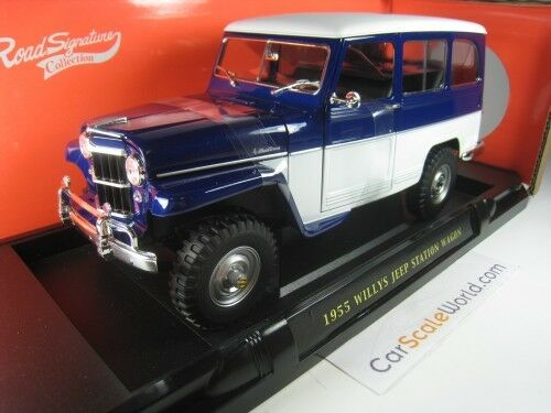 WILLYS JEEP STATION WAGON 1955 1 18 YAT MING - ROAD SIGNATURE (bleu)