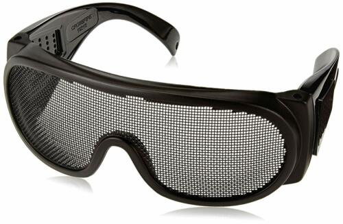 Wire Mesh Safety Glasses Matte Black Frame Protection Anti-Fog Elastic Strap