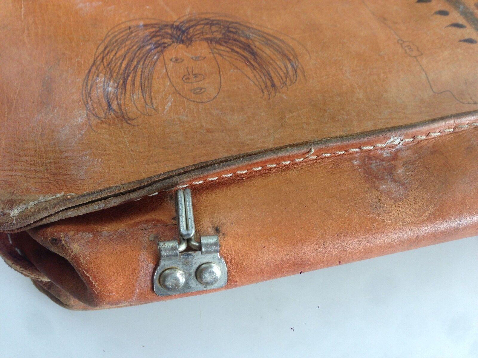 VINTAGE VINTAGE VINTAGE Schultasche Tasche  Lehrertasche 68er Old School Leder | Züchtungen Eingeführt Werden Eine Nach Der Anderen  | Toy Story  | Räumungsverkauf  93a294