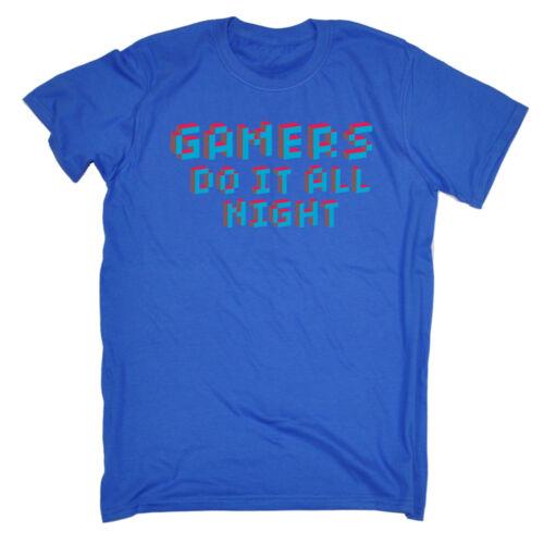 Gamers Do It All Night MENS T-SHIRT birthday video gamer geek nerd retro gift