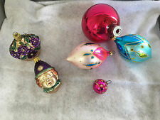 Lot of 6 Vintage Christmas Glass Ornaments Clown, Flower Basket West Germany