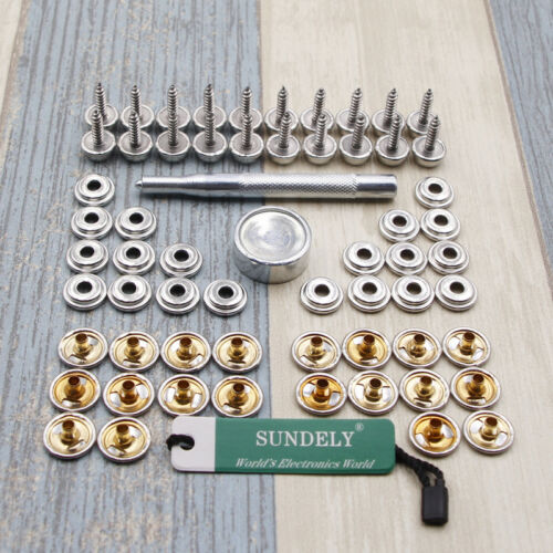62x Snap Fastener Kit Stainless Steel Canvas to Screw Press Stud Fix Boat Cover
