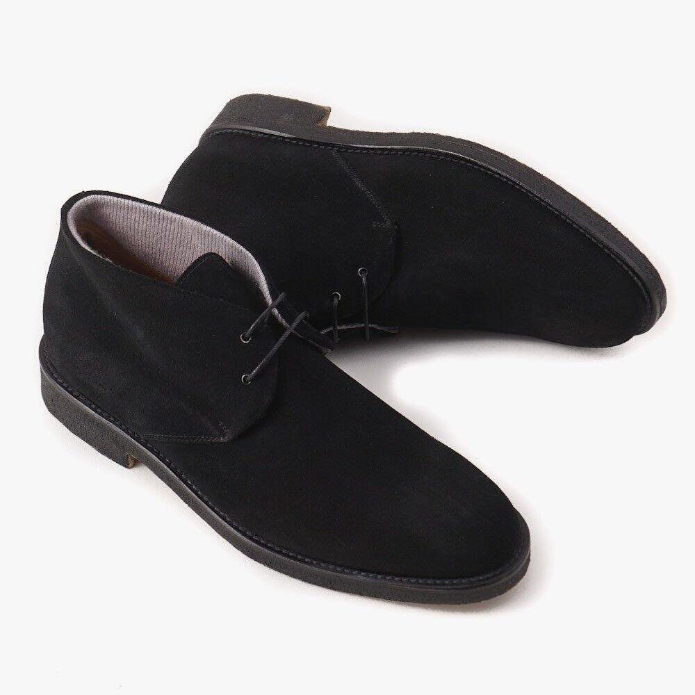 NIB  650 DI MELLA NAPOLI Cashmere-Lined Black Suede Chukka Boots US 12 (US 45)