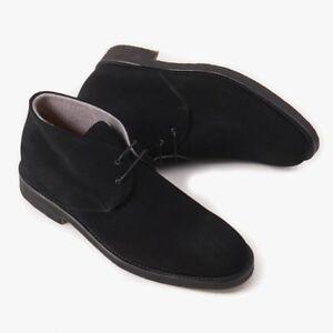 NIB-650-DI-MELLA-NAPOLI-Cashmere-Lined-Black-Suede-Chukka-Boots-US-8-Eu-41