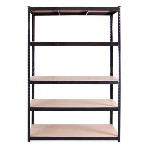 Single Black Metal 5 Tier Deep Garage Shelving Racking Storage 180x120x60cm