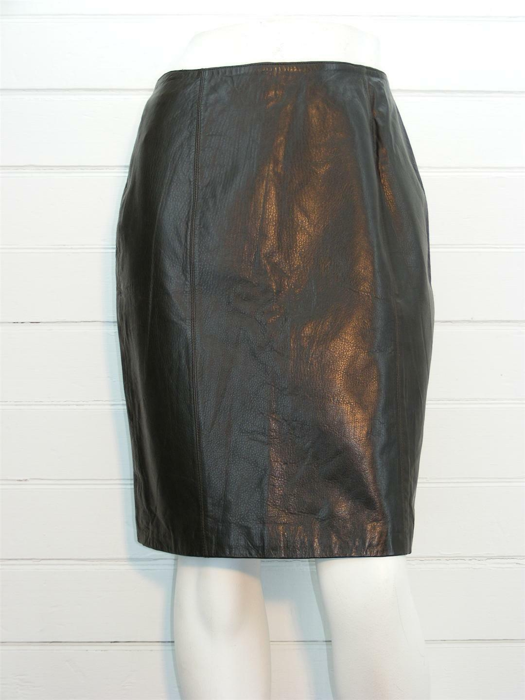 Brown Real 100% Leather soft LINED Below Knee A-Line Skirt, Sz 8 - W29  x L22