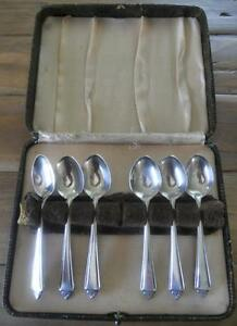 BOXED-SET-OF-6-VINTAGE-1930-039-S-ART-DECO-APEX-EPNS-A1-COFFEE-SPOONS