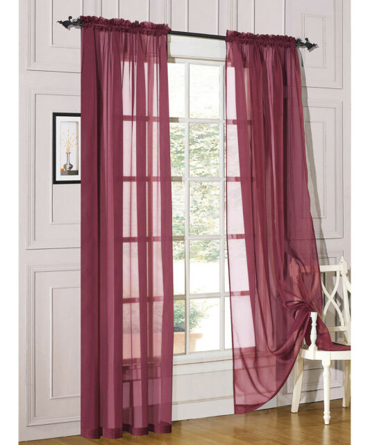 """1 Piece Sheer Voile Window Curtain Panel Treatment Drapes Many Colors, 55""""X84"""""""