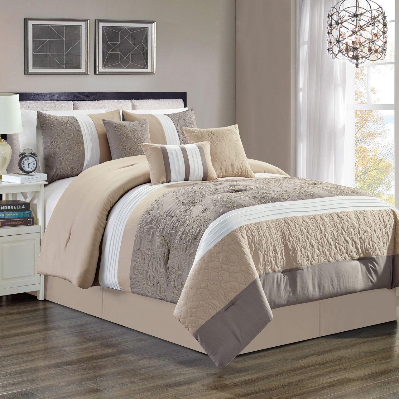7 Piece Delano Taupe Comforter Set