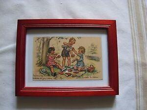 carte postale ancienne germaine bouret avec son cadre dessin enfant pique nique ebay. Black Bedroom Furniture Sets. Home Design Ideas
