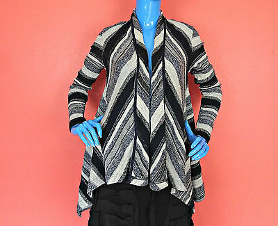 Three Dots Aria Striped Waterfall Cardigan Women Sweater Anthropologie S 6 8 New