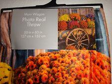 "MUM WAGON~FLOWERS~Multi Color~Photo Real Throw Silky Fleece Blanket 50"" x 60"""