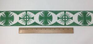 Orphrey-Vintage-Cruz-Verde-Encendido-Blanco-Vestment-Banda-8-3cm-Ancho-Se-Vende