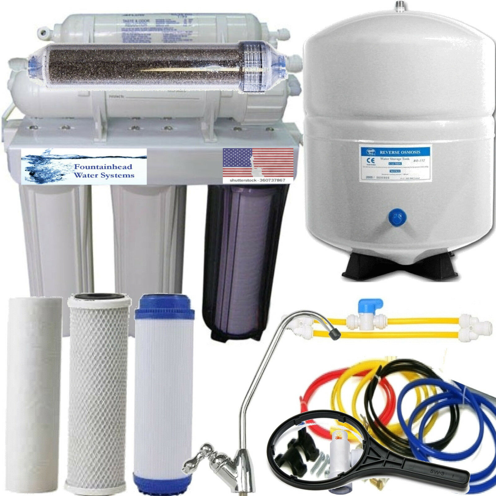 RO DI Dual Outlet Drinking water Aquarium Reef Filter System System System Manual Flush 80GPD 34d1e2