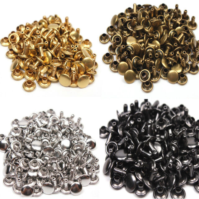 9mm Double Cap Rivets Die Set Punch Tool Studs Sewing Leather Craft Repair Brass