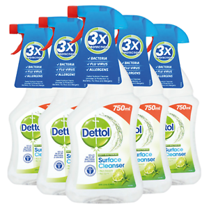 5 x Dettol Anti-Bacterial Surface Cleanser Spray Lime and Mint 750ml