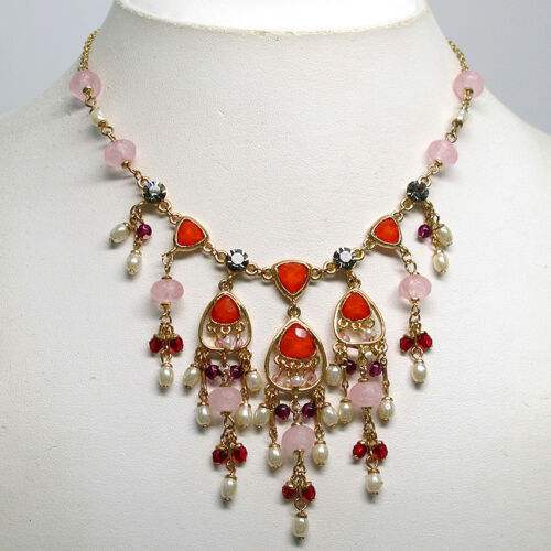 FABULOUS MULTI COLOR CRYSTAL NECKLACE EARRING SET S6221