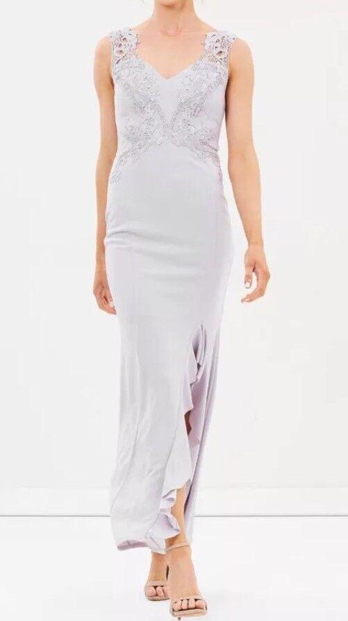 BNWTLipsy Size 14 New Frill Split Appliqué Trim Lace Maxi Dress purplec Nude