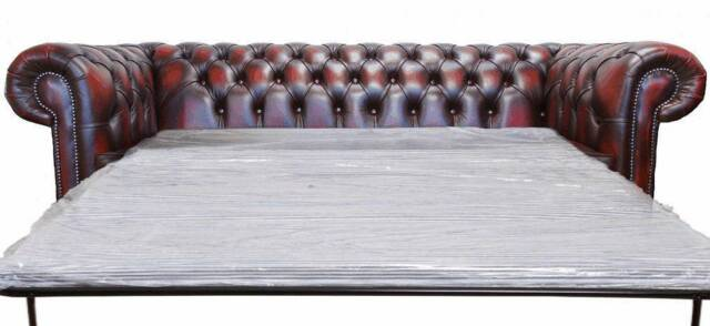 New Chesterfield 3 Seater Sofa Bed Antique Oxblood Red Leather Sofa Settee