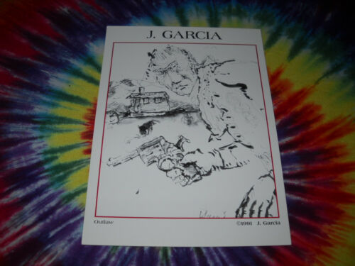 "J.JERRY GARCIA GRATEFUL DEAD PRINT HANDBILL POSTCARD OUTLAW 1991-5/"" X 7/"""