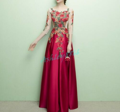 Womens Floral Formal Party Evening Dress Cocktail Wedding Dress Ball Gown Chic