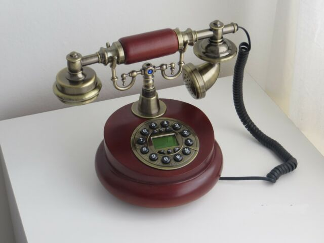 Antique Wooden Corded Desk Telephone Home Decor Ideal Gift Idea for Birthday