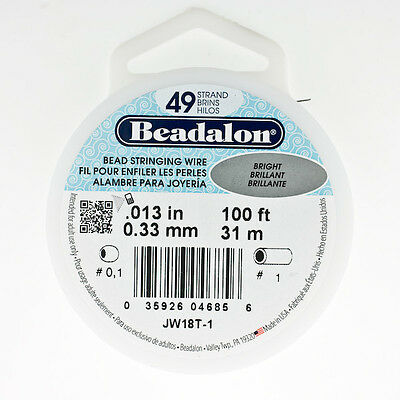 Beadalon 49 Strand Beading Wire .013 30ft & 100ft Spools. Bead Stringing Wire