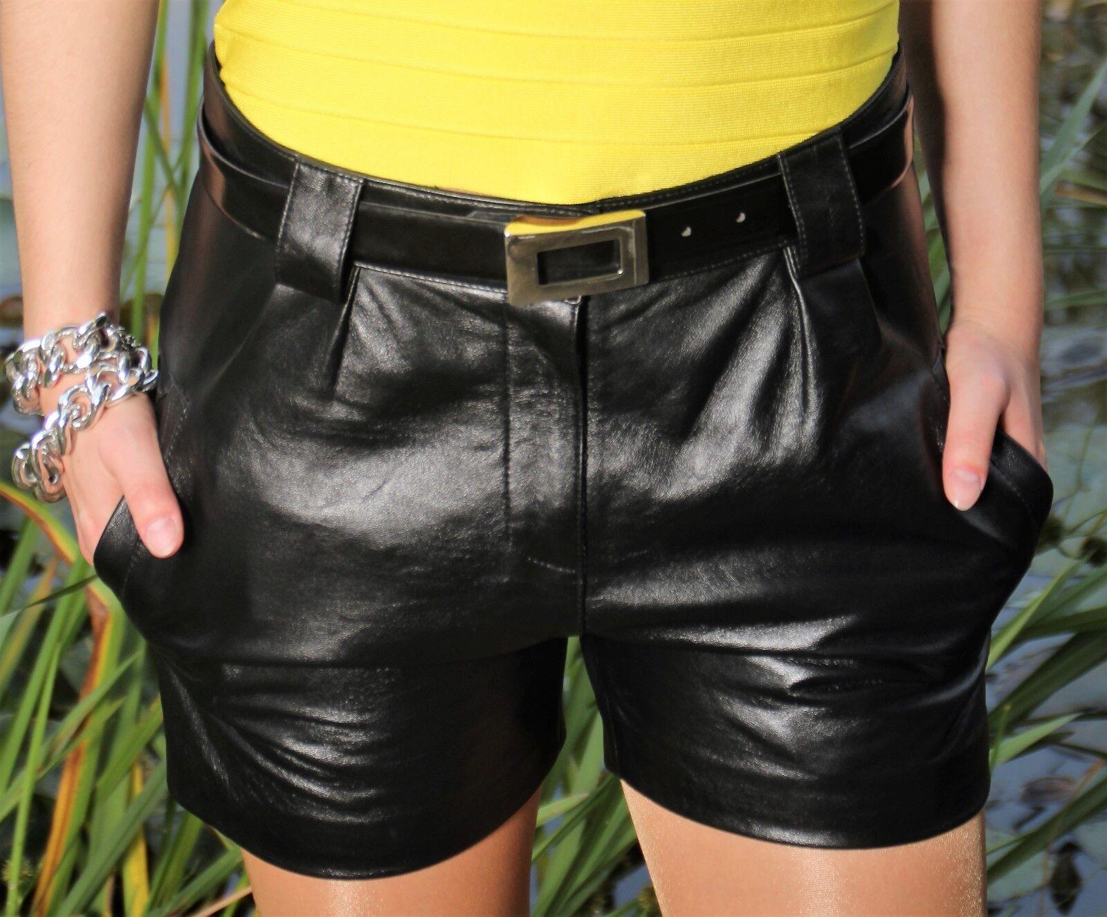 Cuero-short Hot-Pants en  real-cuero en el elegante Style para señora  entrega gratis