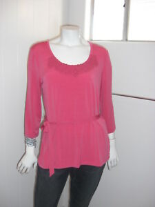 212-Collection-Dark-Pink-Stretch-3-4-Sleeve-Blouse-Size-M