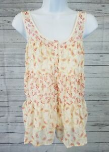 Lauren-Conrad-Womens-Tank-Top-Sz-Small-Button-Front-Ivory-Pink-Floral