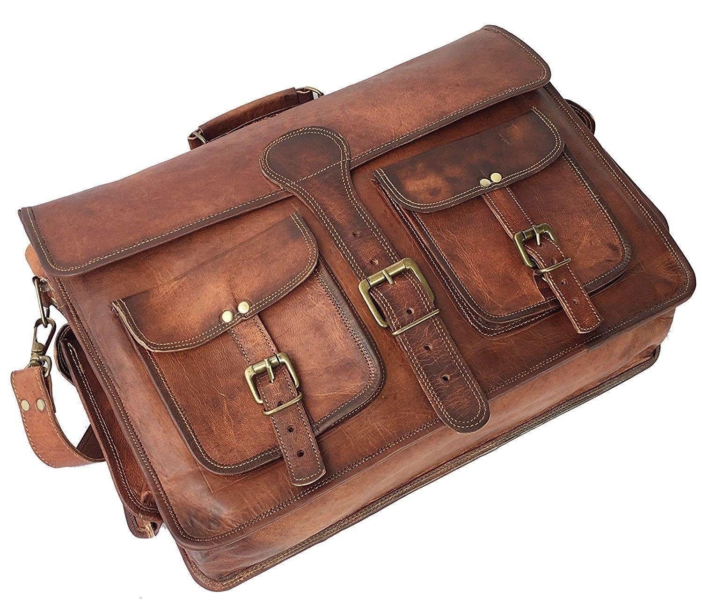 Vintage Leder Aktentasche Arbeitstasche Schultertasche UNI BAG Messenger    | Neuheit