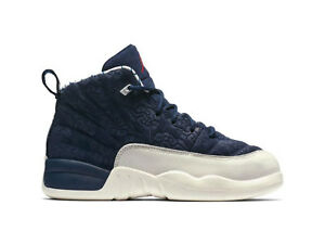 815cc23e0254 Nike Little Kids  Air Jordan 12 RETRO PREMIUM PS Shoes Navy Red ...
